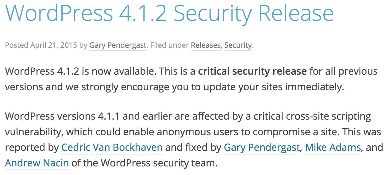WordPress Security Notice