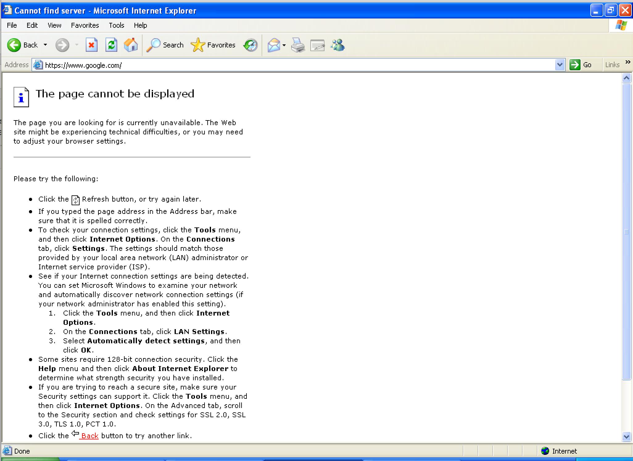 Error page for SHA-1 failure
