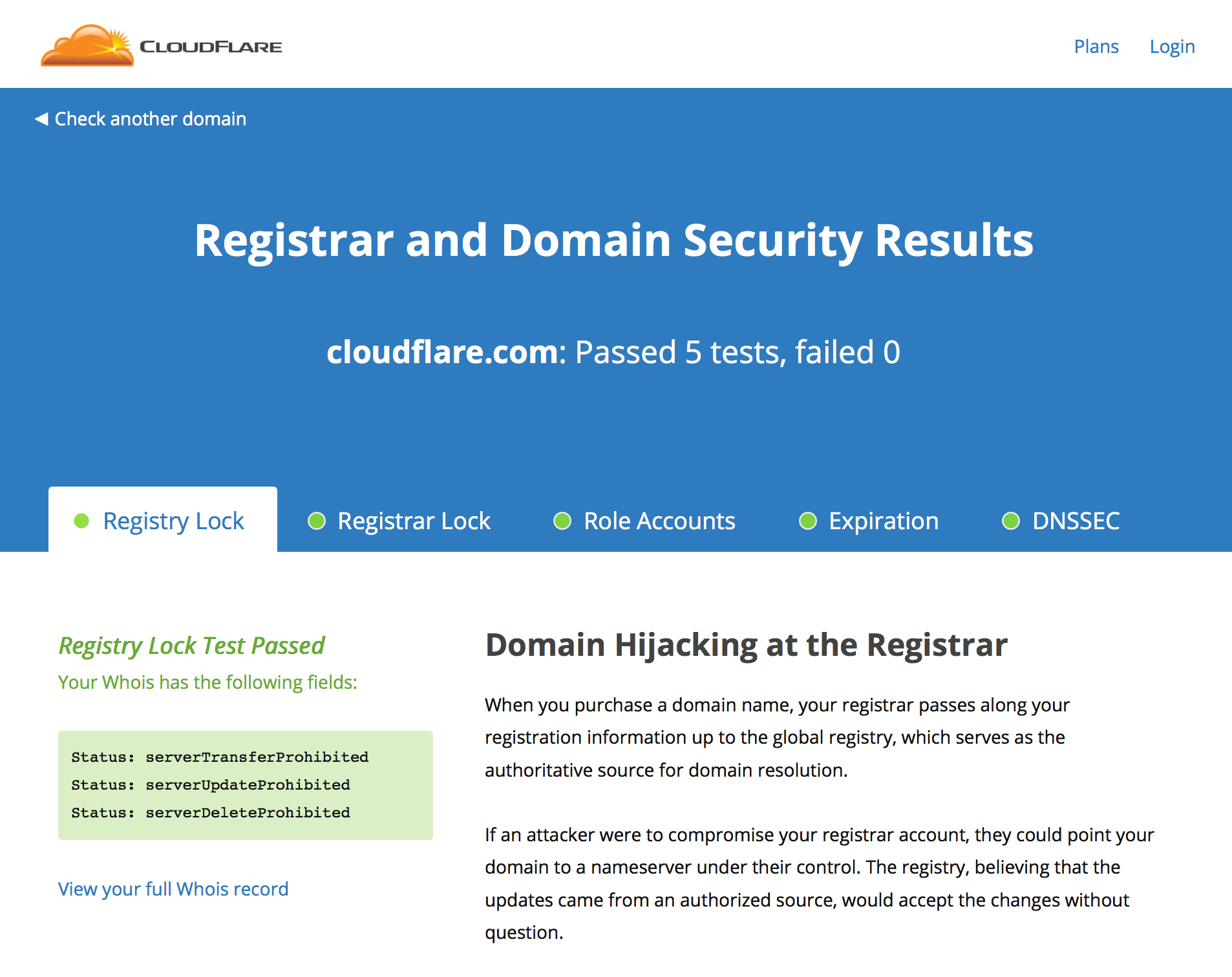 Screenshot of CloudFlare's Domain and Registrar Security Tool
