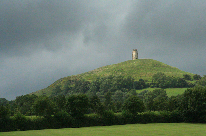 Storm clouds over Glastonbury Tor