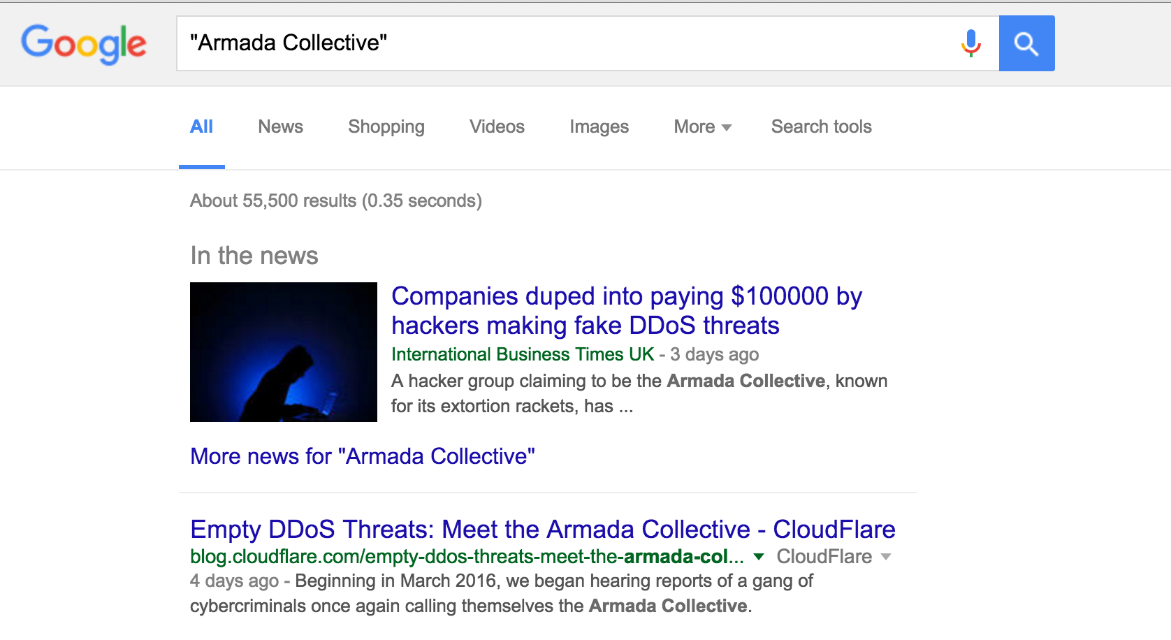 Armada Collective Google Search Results
