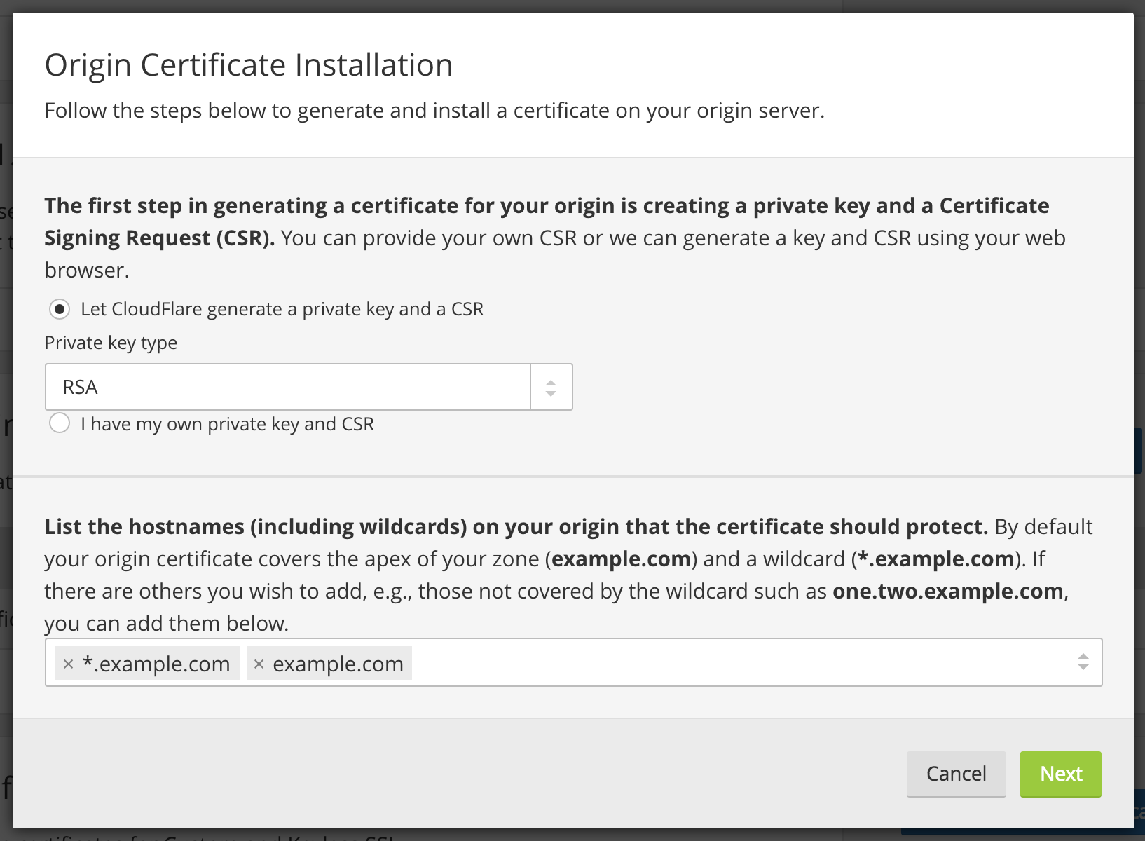Cloudflare origin ca by default the list of hostnames your origin certificate covers includes the apex of the currently selected zone example and one level of wildcard xflitez Choice Image