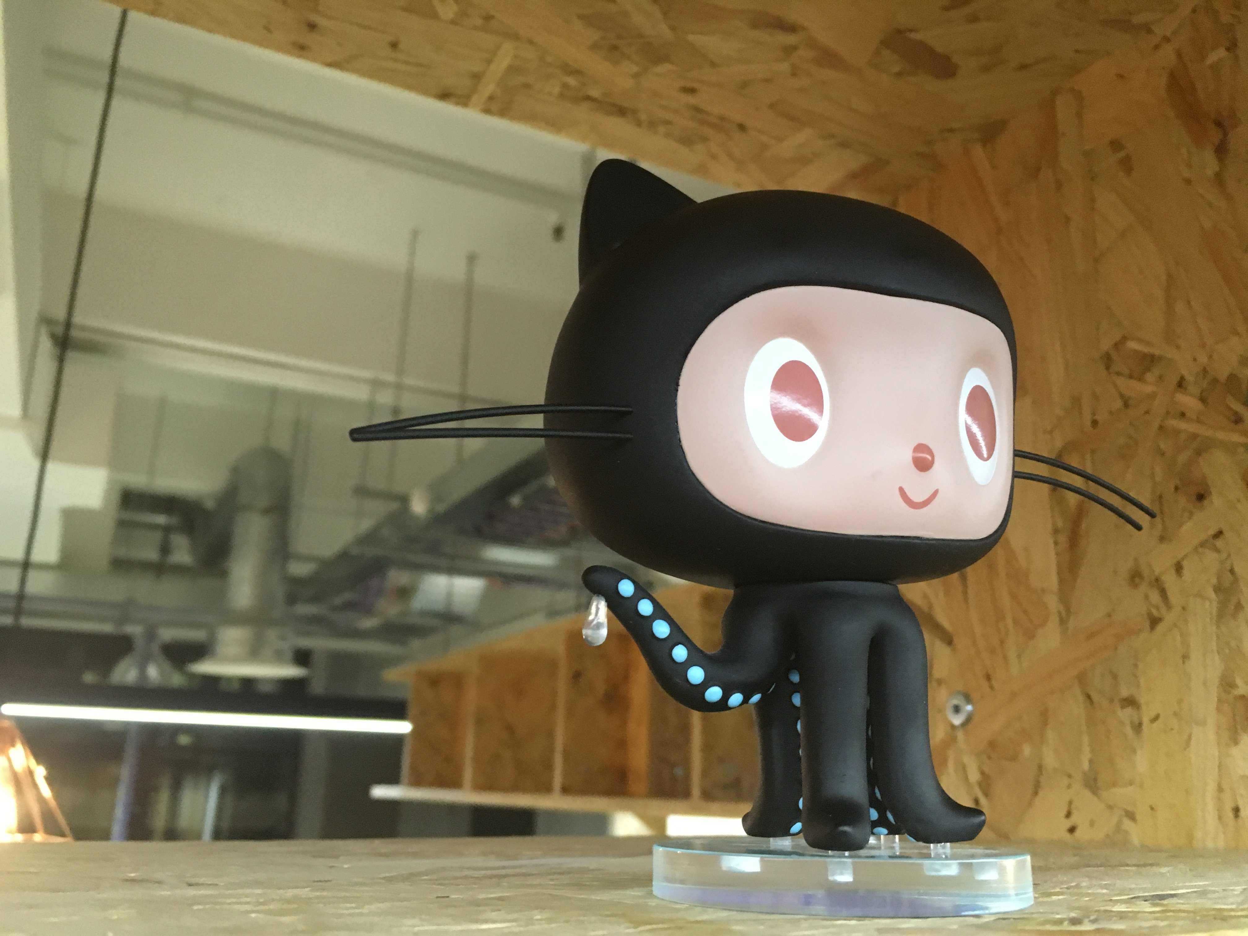 GitHub mascot in the CloudFlare London office