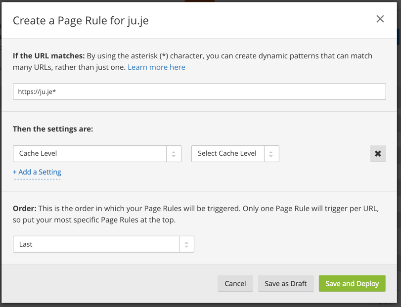 Cache Everything Page Rule