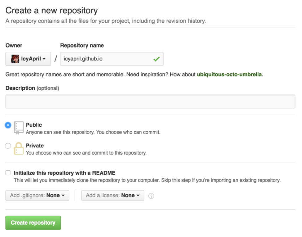 Creating a GitHub Pages repository