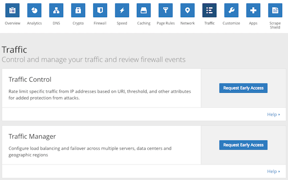 Cloudflare dashboard, Traffic app