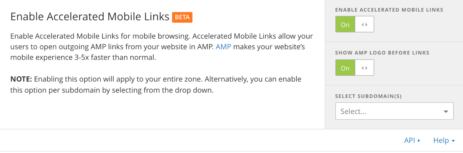 Mengaktifkan Accelerated Mobile Links di Cloudflare
