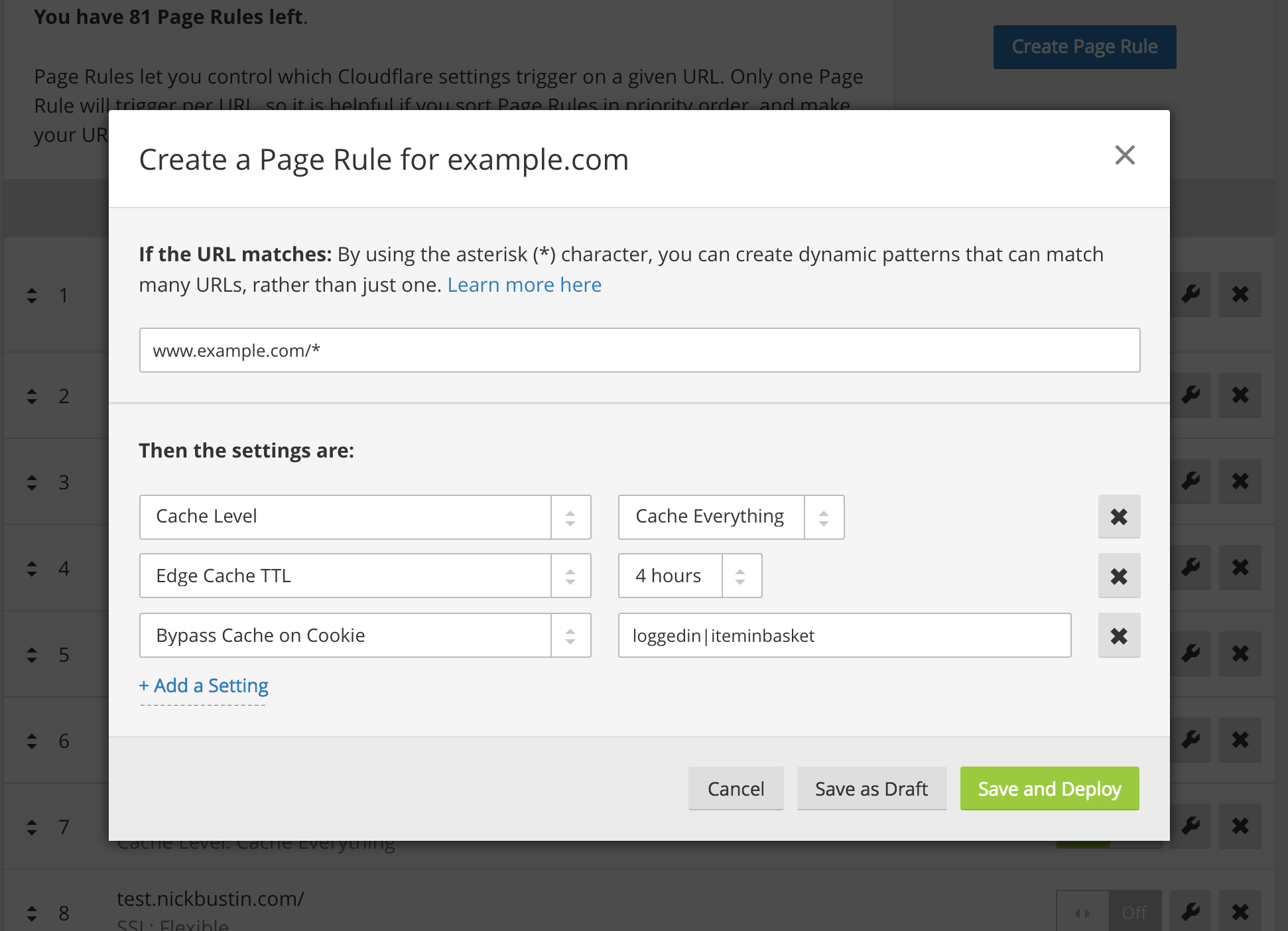 Screenshot of Cloudflare's Page Rule settings
