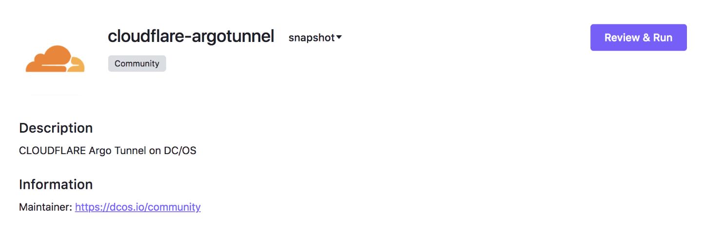 Argo Tunnel + DC/OS
