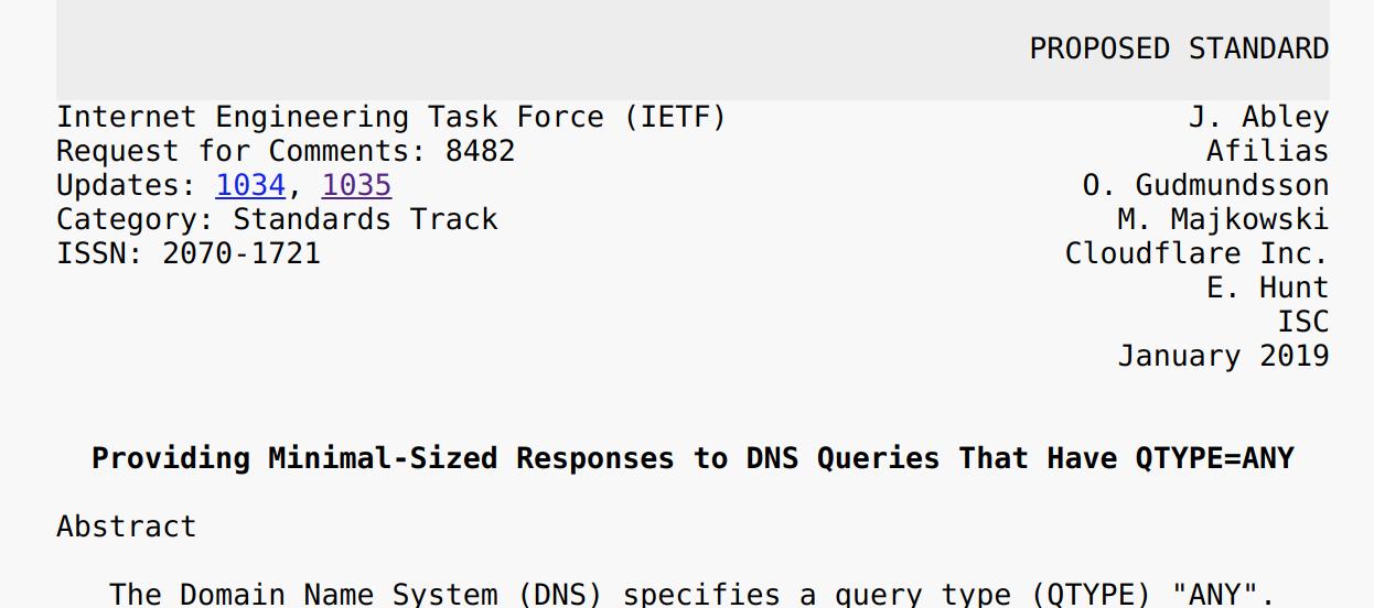 RFC8482 - Saying goodbye to ANY