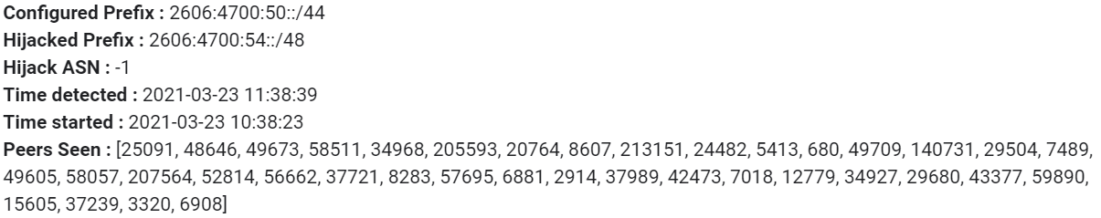 Cloudflare already has this configured on our own prefixes today. Here's an example of what we see when our system determines that something is wrong: