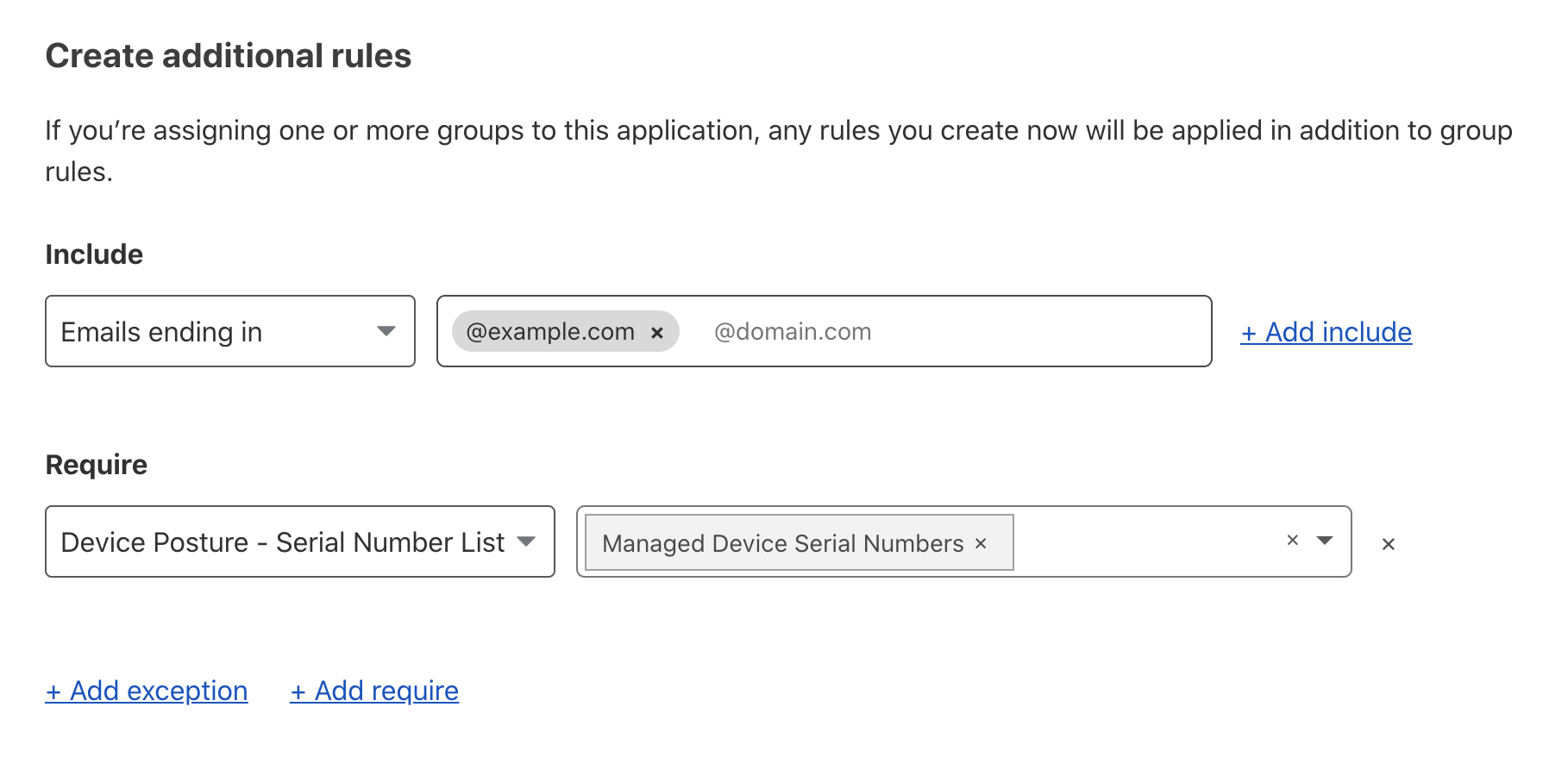 You will now be able to build Access rules that check if a device's serial number is in the managed devices list.