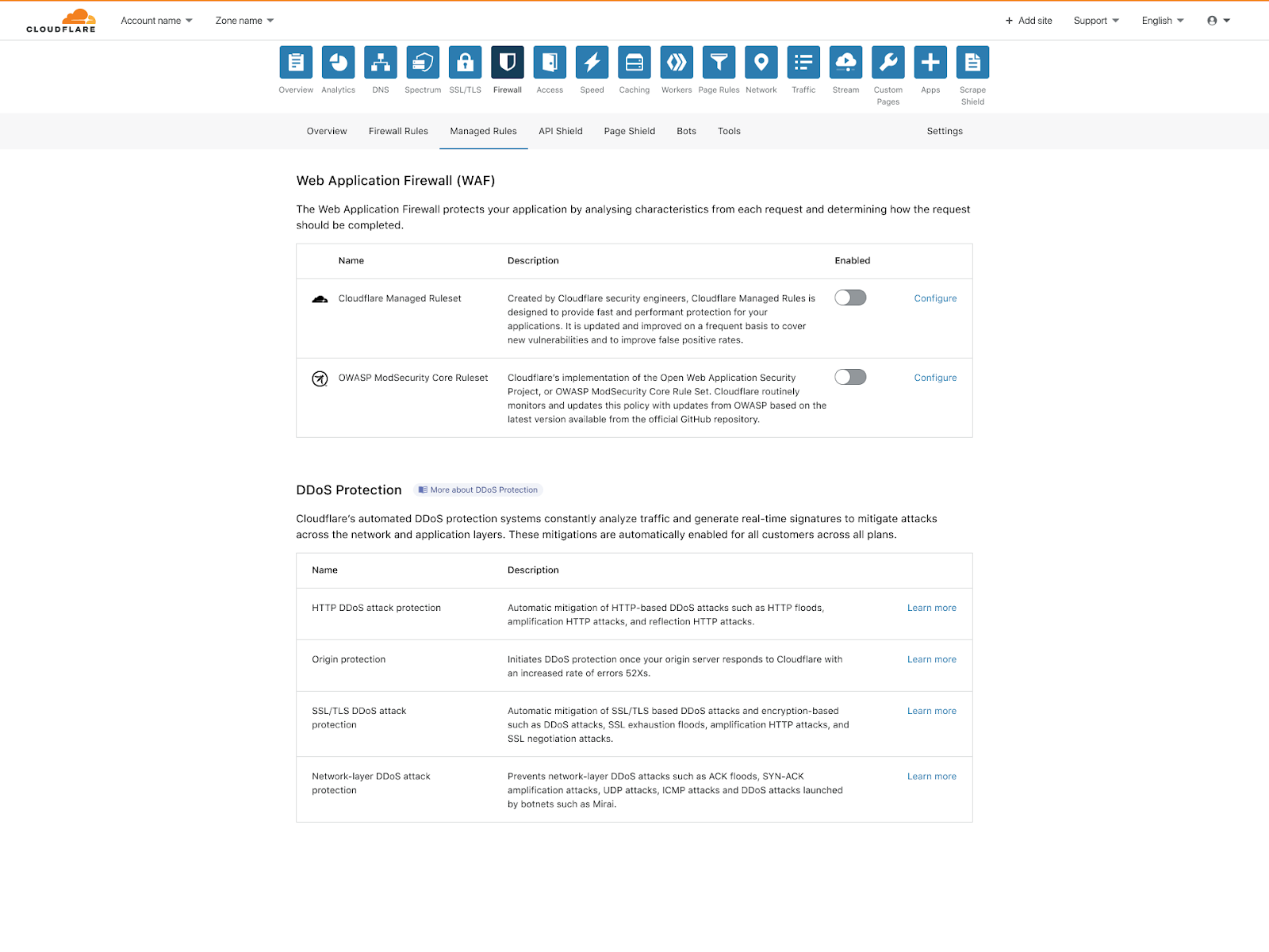 The new WAF UI. One click to turn on the Cloudflare Managed Ruleset and the Cloudflare OWASP ModSecurity Core Ruleset.