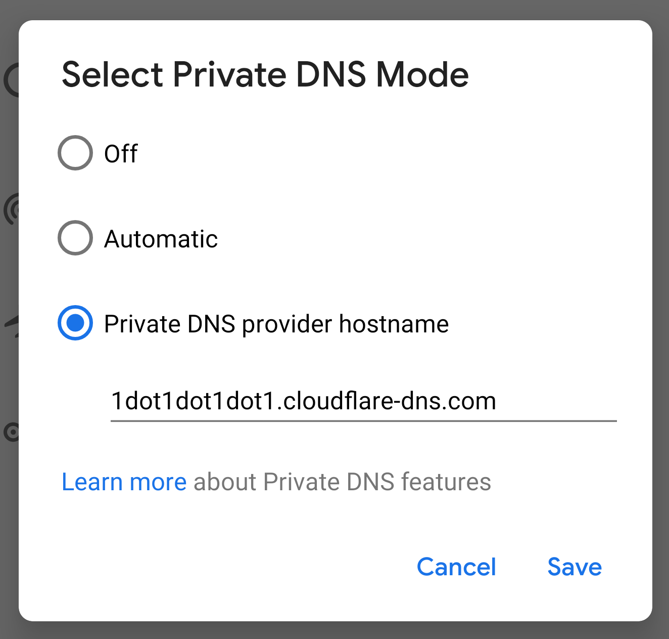 Android Pie Private DNS Mode screenshot