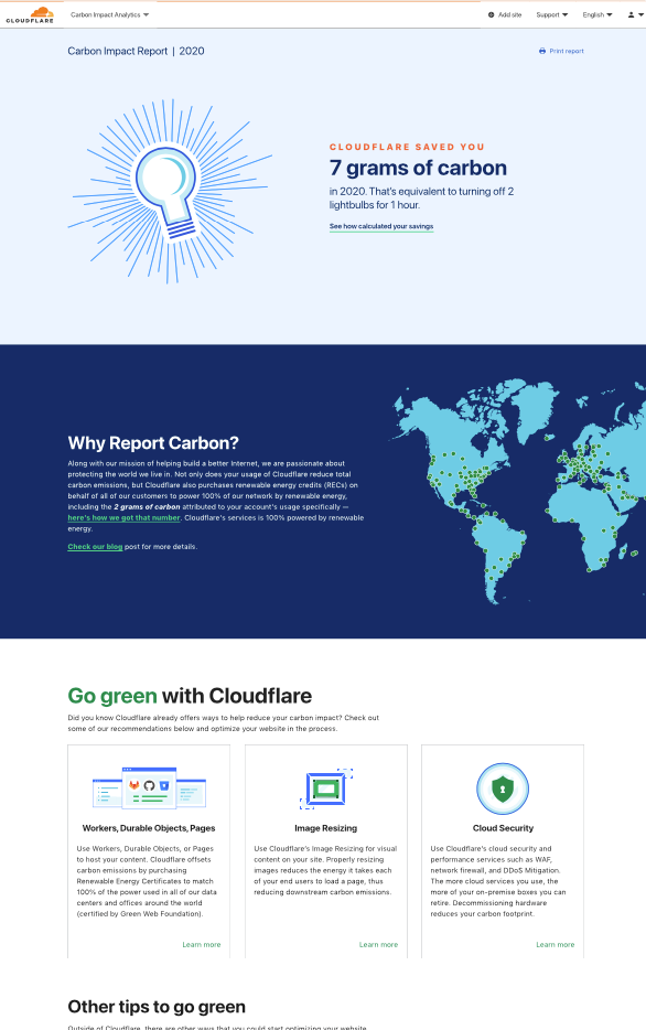 Understand and reduce your carbon impact with Cloudflare