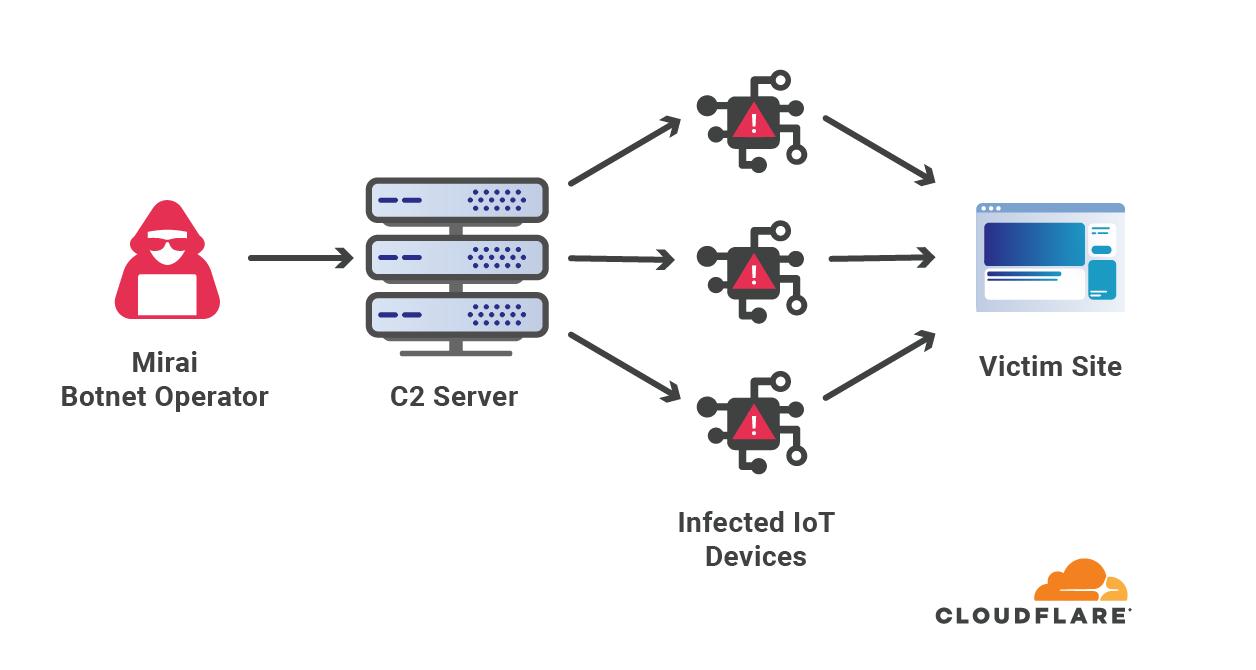 Diagram of Botnet operator controlling the botnet to attack websites