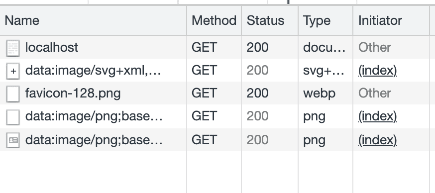 The Network Activity in Chrome Developer Tools when loading the landing page. There is only one external asset request for the favicon, which is hosted elsewhere.