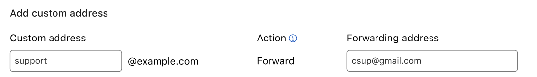 Text boxes to type the address to create and the one to forward to.