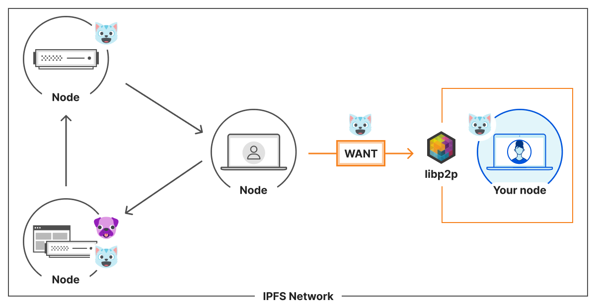 Communication between a peer that wants content and your node on the IPFS network