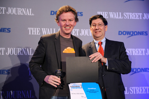 Receiving the WSJ Award for Most Innovative Internet Technology Company