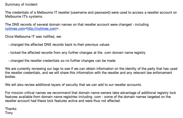 Letter About MelbourneIT