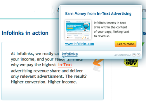 App: Infolinks Earns You Money With In-Text Ads